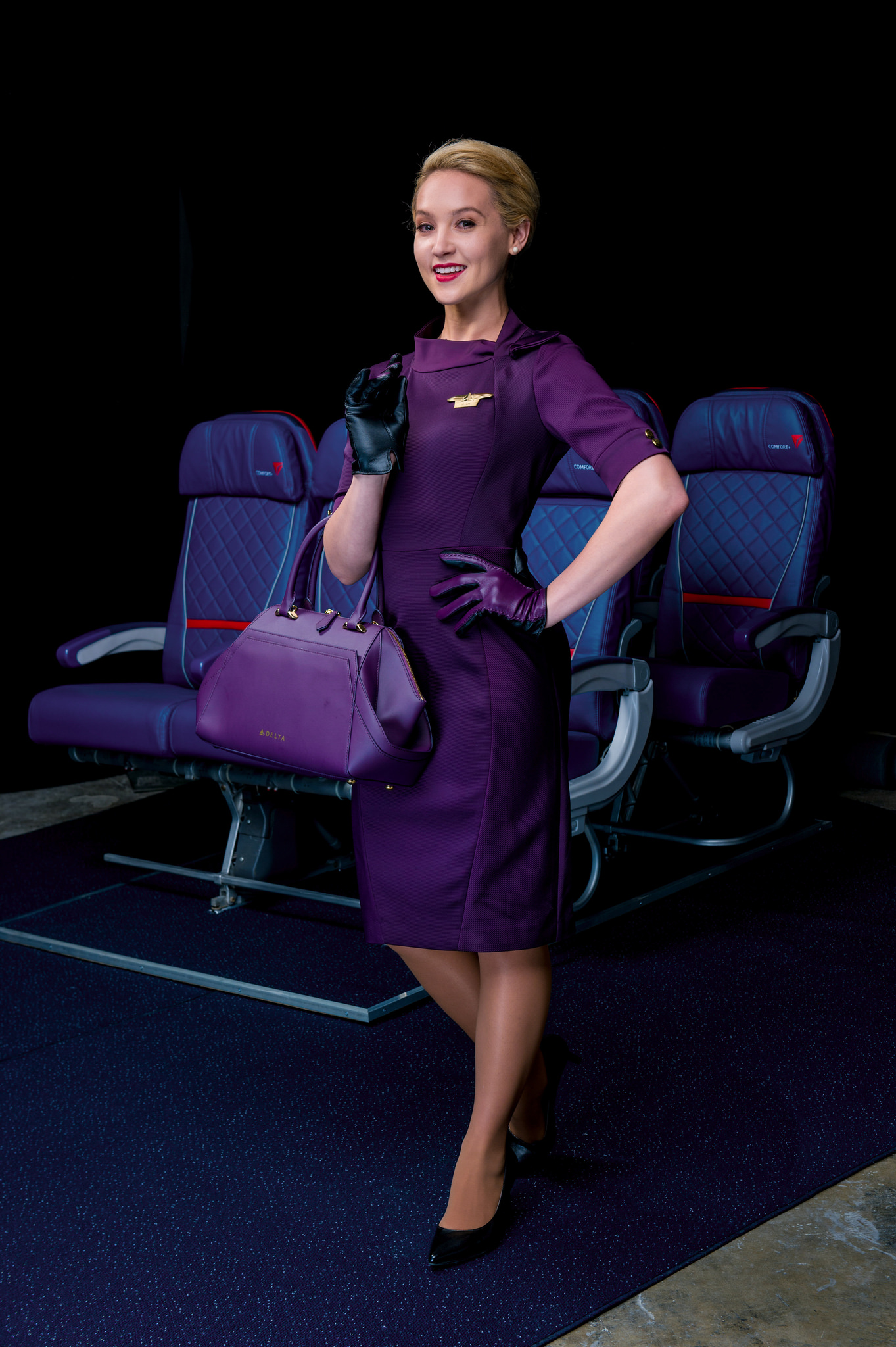 A flight attendant uniform and accessories