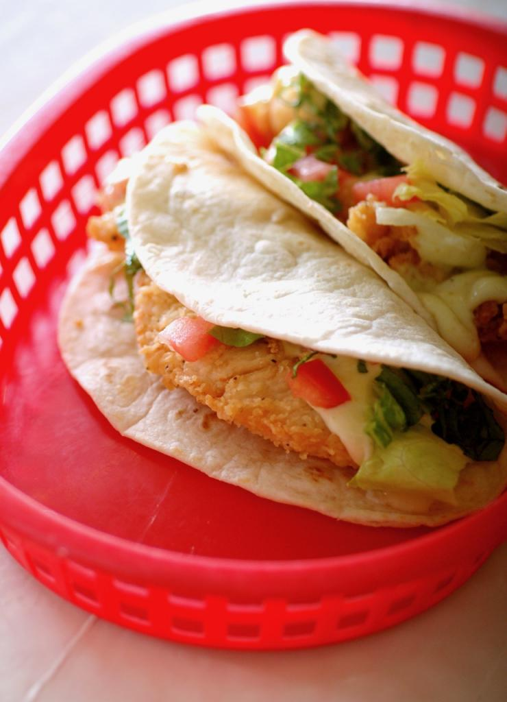 The fried chicken taco at Taqueria del Sol