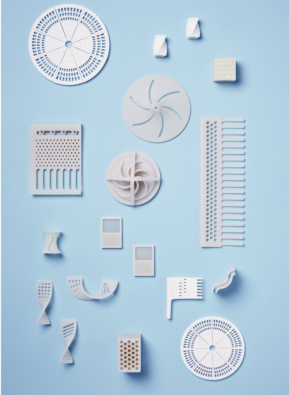 Various objects printed using a DDM Systems technology