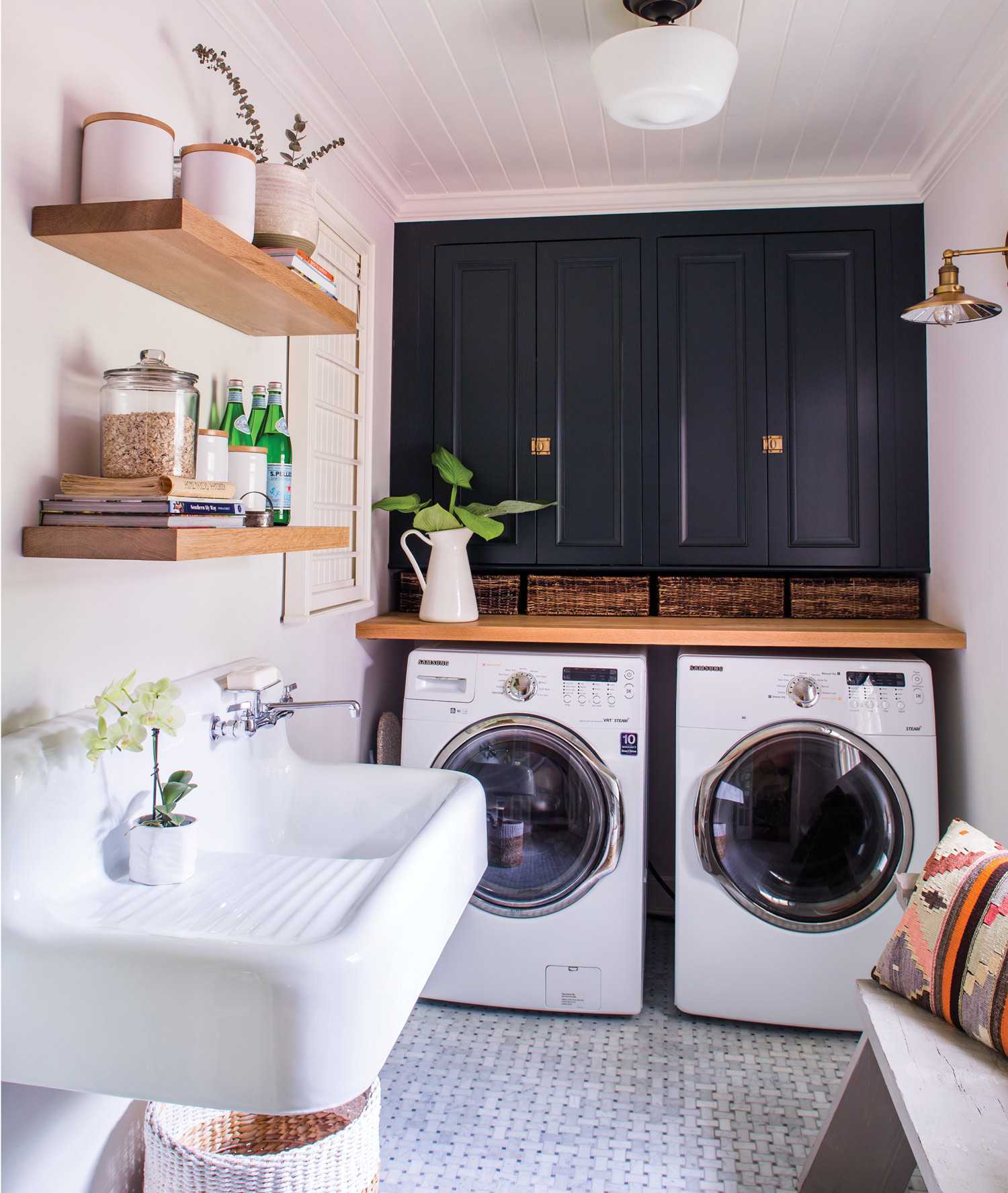The vintage-style laundry sink proved pricey but useful.