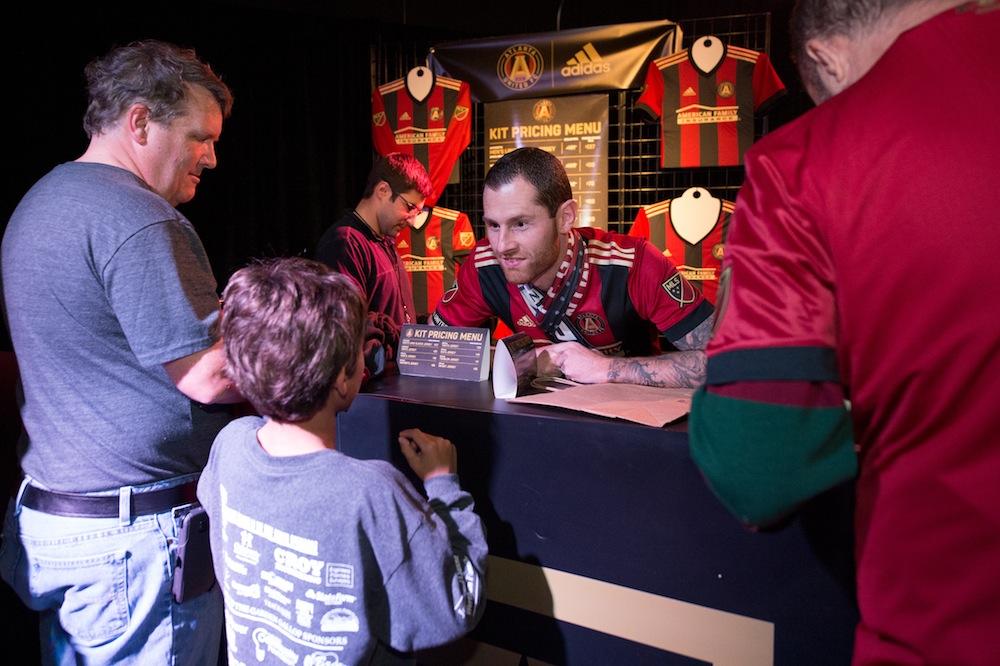 Midfielder Chris McCann takes orders for the kit