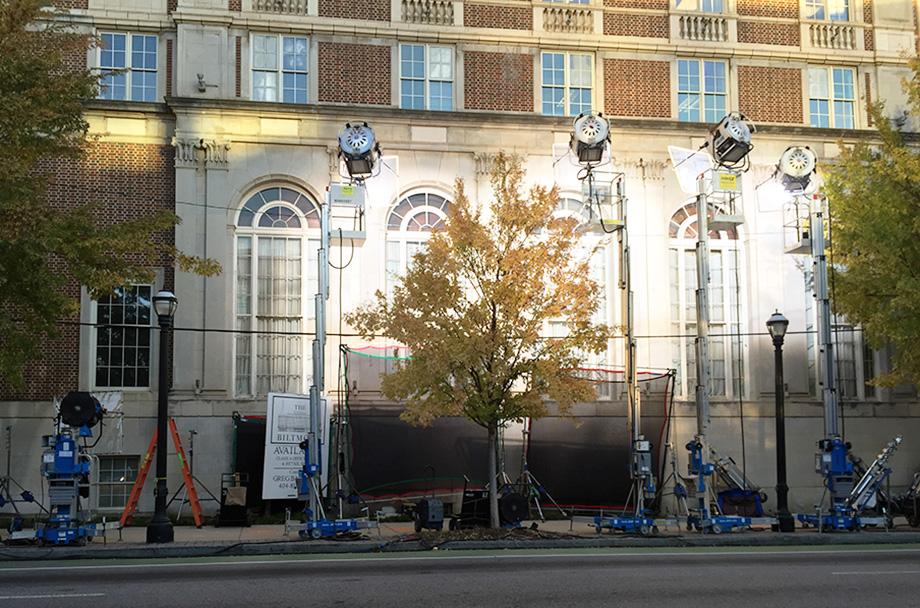 Star films outside the Biltmore Hotel.
