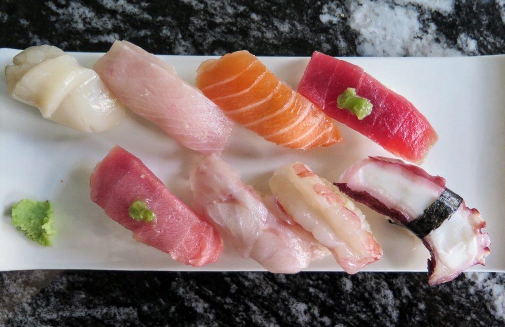 An assortment of nigiri sushi.