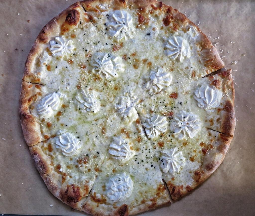 The white round pie at O4W Pizza in Duluth.