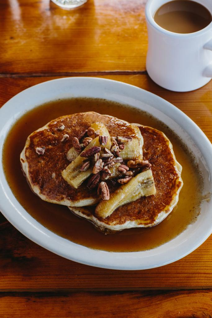 The banana pancakes at Ria's bluebird.