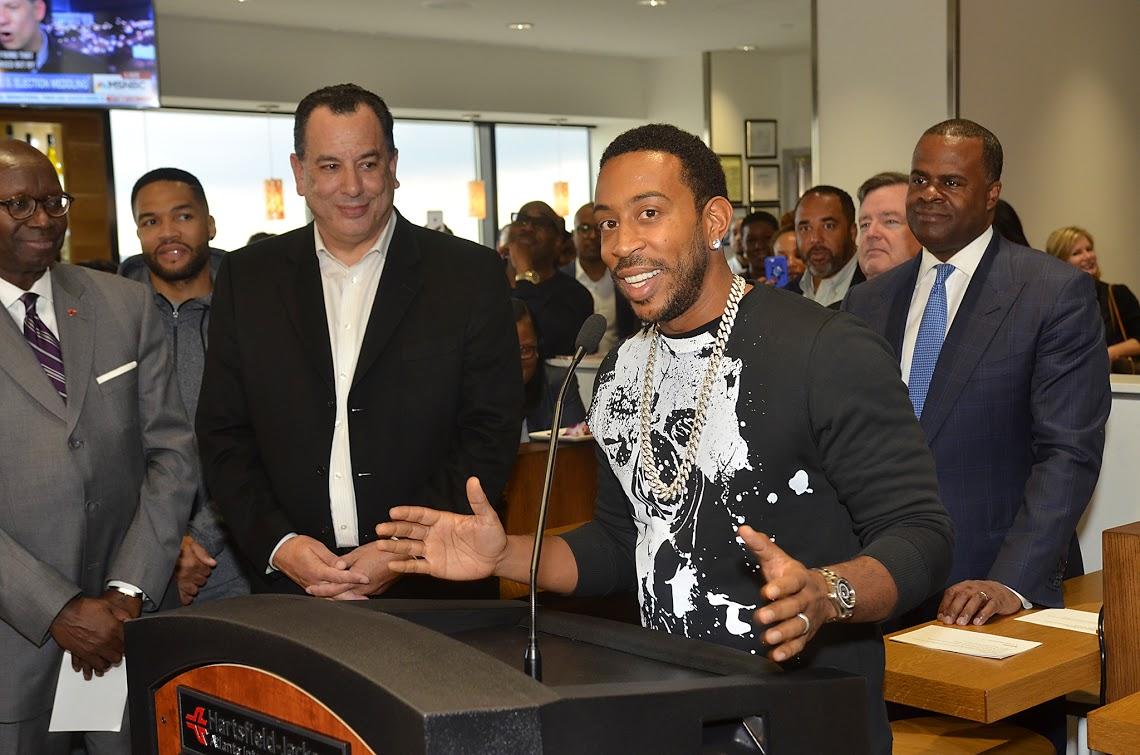 "Chris ""Ludacris"" Bridges spoke at the restaurant's opening on December 12, 2016."