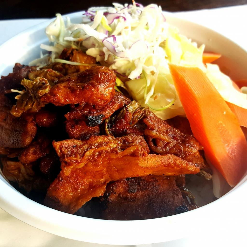 Kimchi pork belly bowl