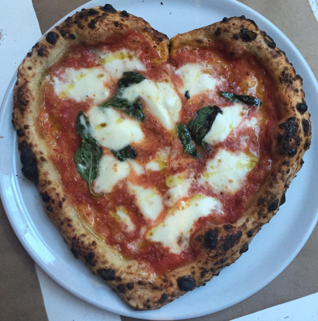 Heart-shaped pizza at Ribalta