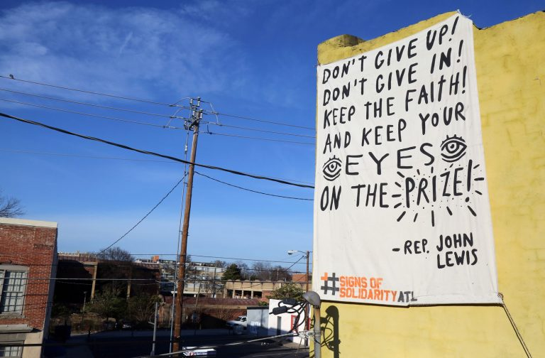 With massive messages, Atlanta's arts community pushes back against hate