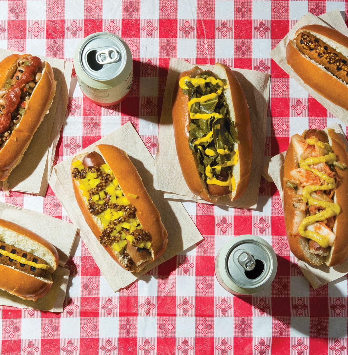 Hot Dog with Collard Greens