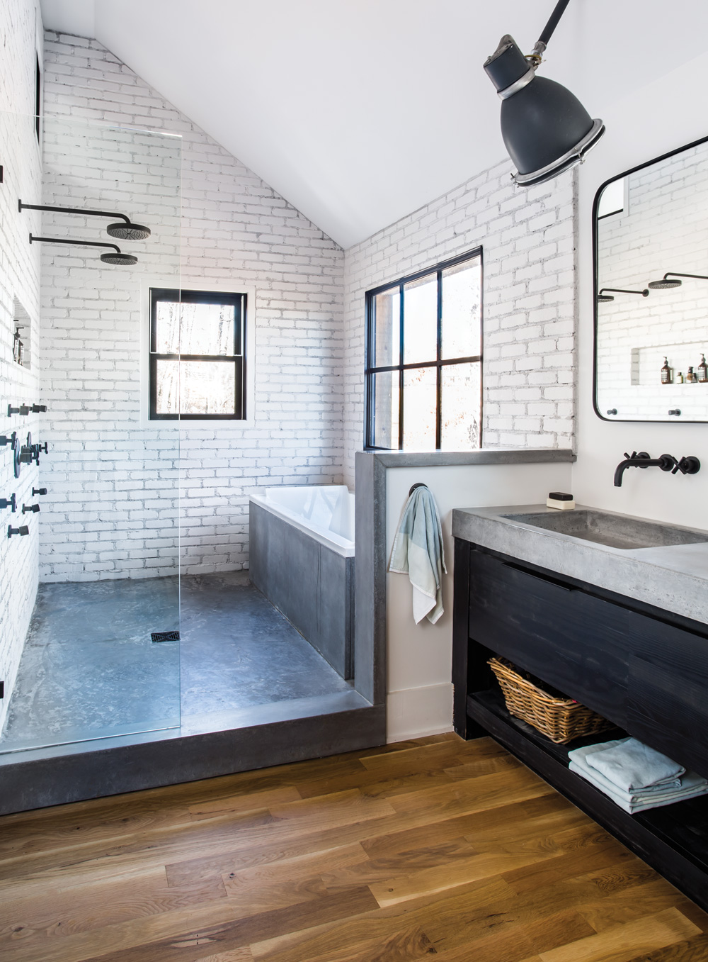 room envy at serenbe a master bath with a modern farmhouse
