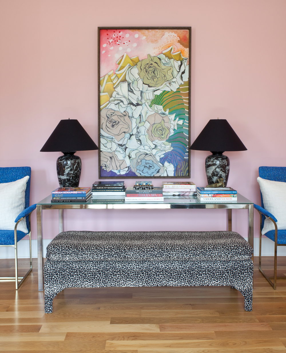 For gainesville artist angela blehm her home is her canvas im kind of a girly girl says angela who chose lotus flower by sherwin williams for the living room walls drapery panels of kelly wearstler fabric izmirmasajfo