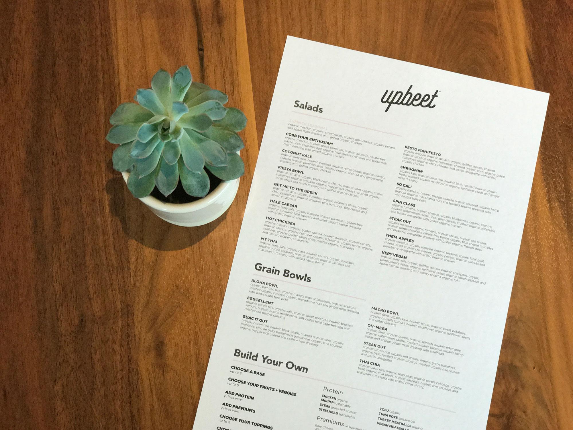 Upbeet! menu