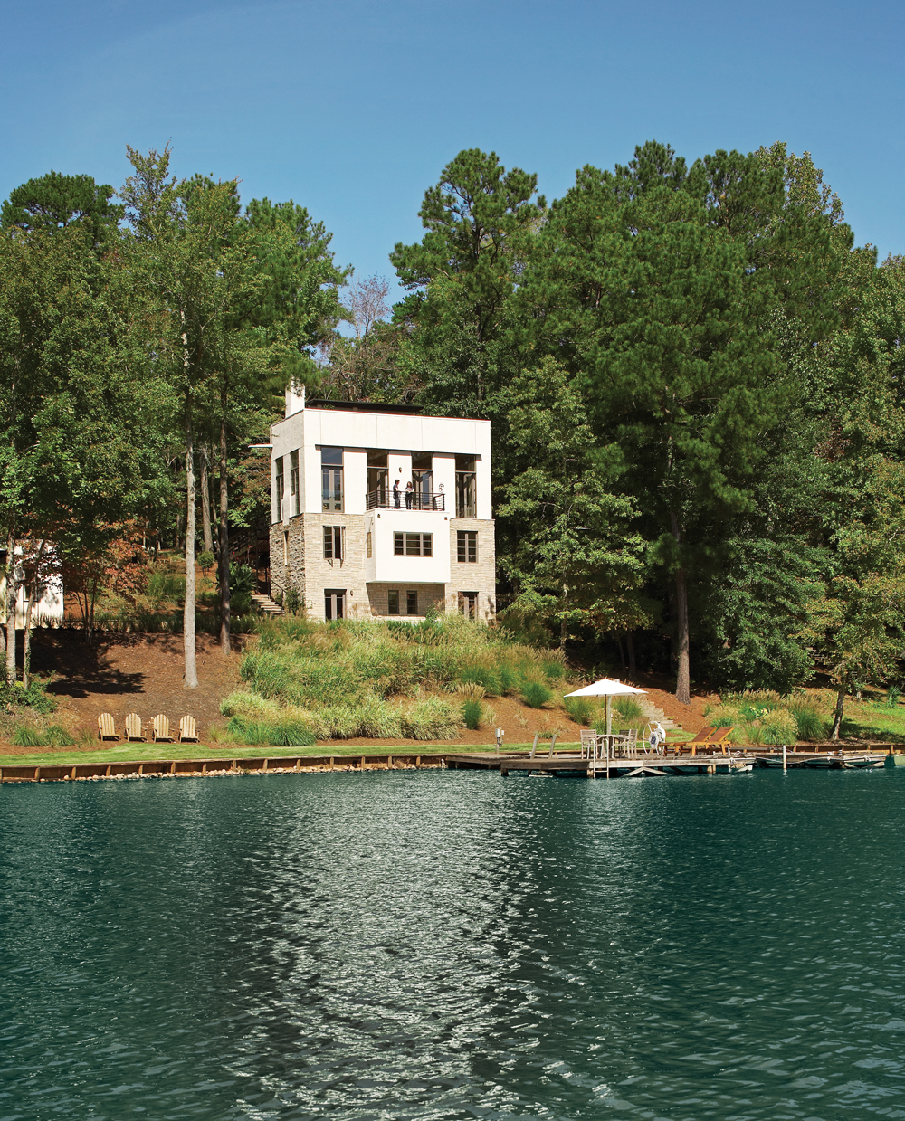 This three-story Lake Oconee home is a contemporary take on