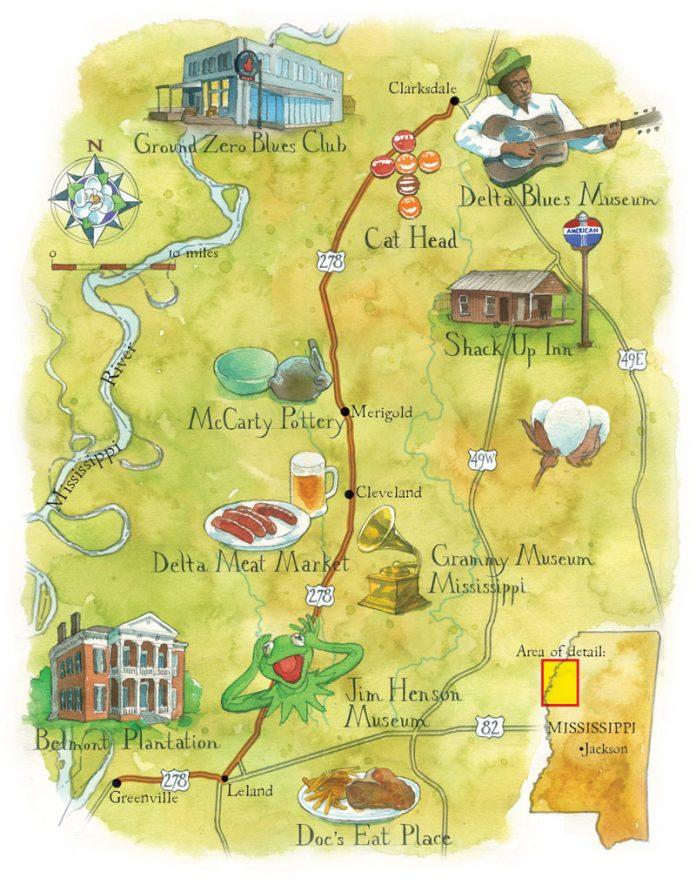 Delta Atlanta Map.Must Stop Spots In The Mississippi Delta Atlanta Magazine