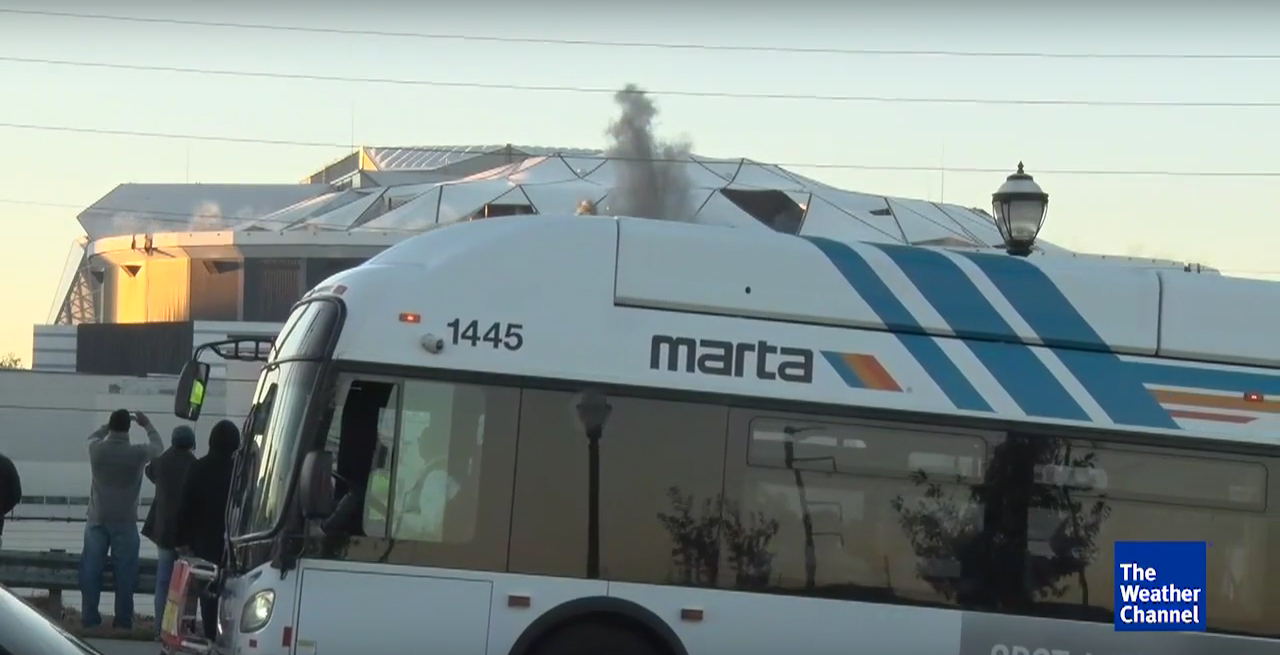 MARTA bus blocks Weather Channel Georgia Dome implosion
