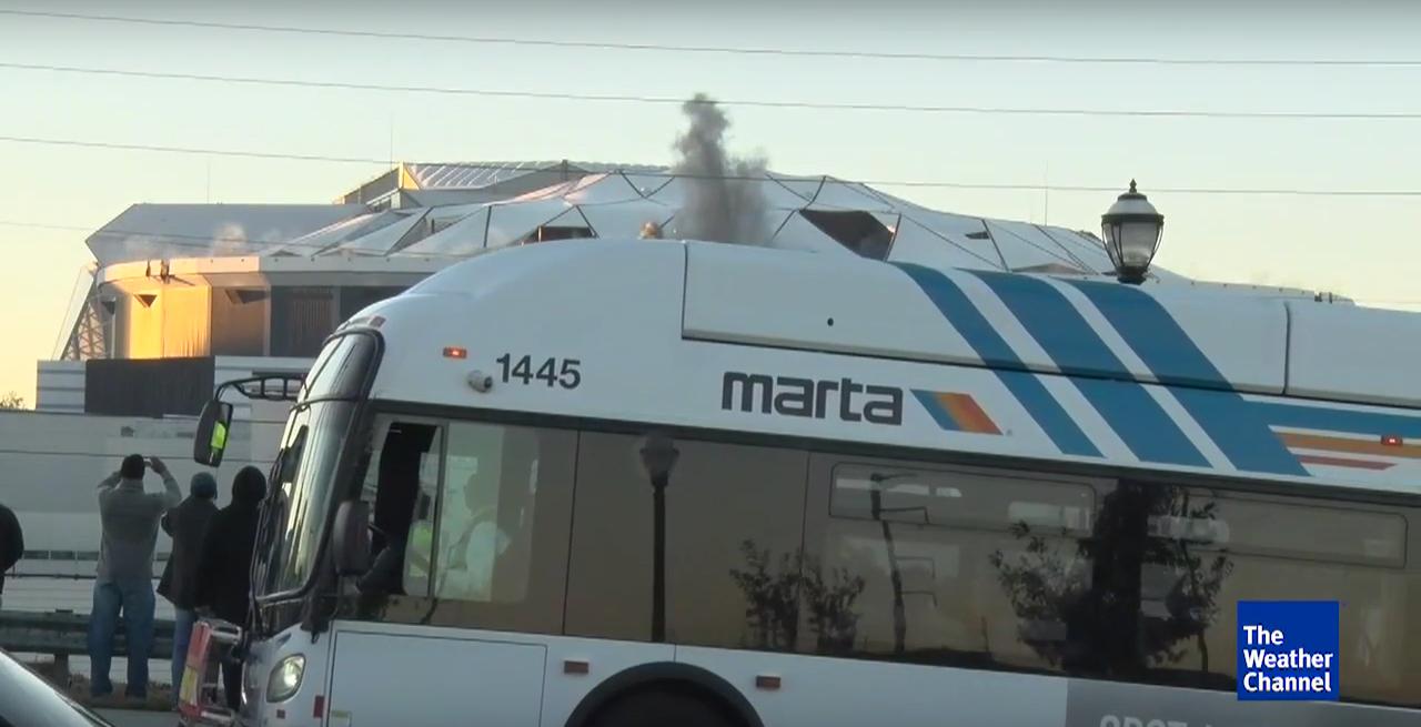 MARTA bus blocks Weather Channel Georgia Dome implosion