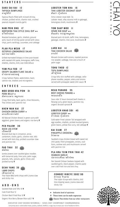 Chai Yo Modern Thai menu