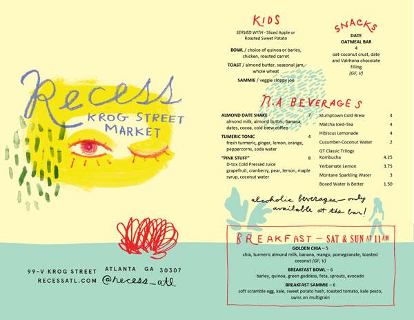 Recess food menu