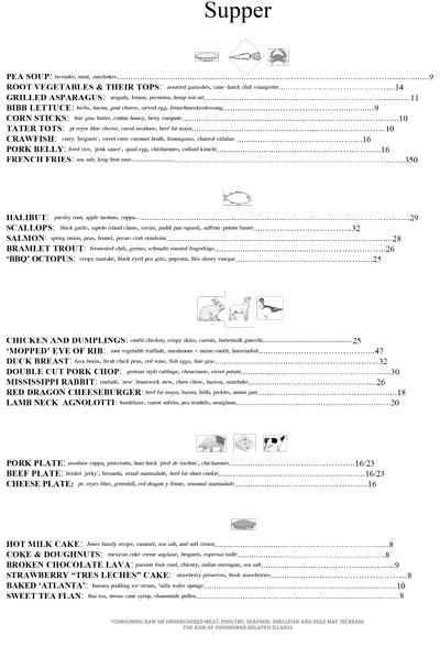New Watershed on Peachtree menu
