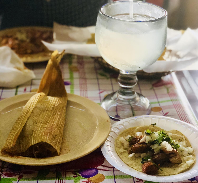 Pork Tamale Taco And Margarita La Paloma