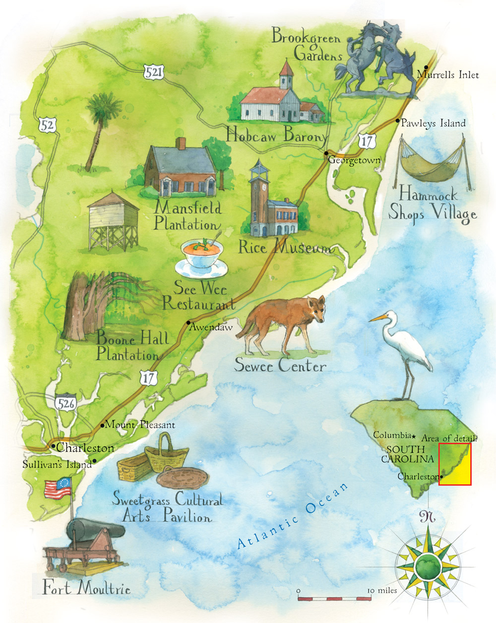 Coast Of South Carolina Map.Plan Your Next Road Trip Along South Carolina S Coast Atlanta Magazine