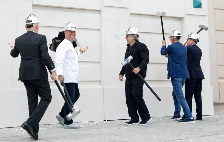With sake and sledgehammers, Robert De Niro and Nobu Matsuhisa break ground on Nobu Atlanta