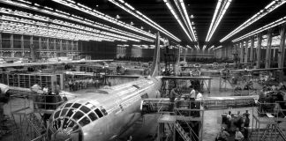 Circa: Lockheed bomber plant