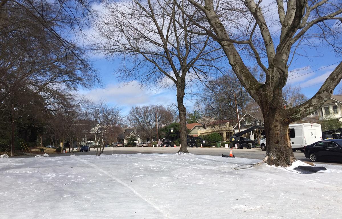 What's filming in Atlanta now snow Ansley Park Jumanji