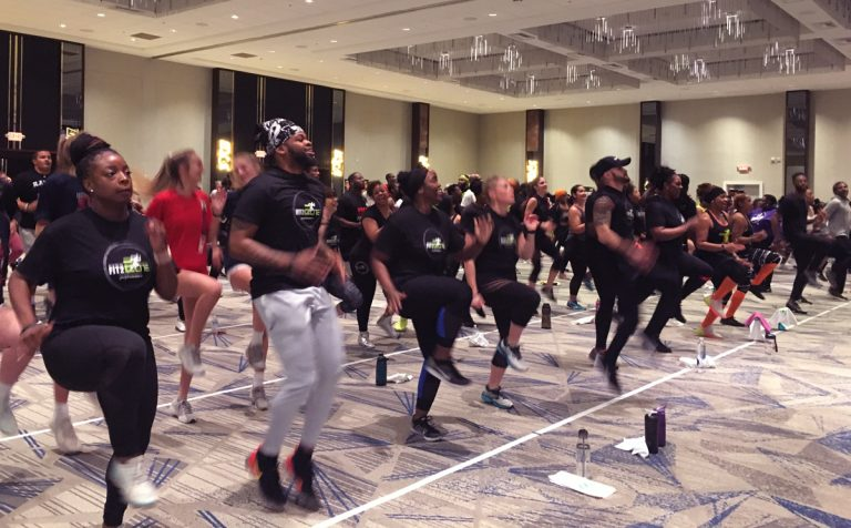 """Torch Fitness's """"First & 10"""" football-themed workout was squat-heavy but fun"""