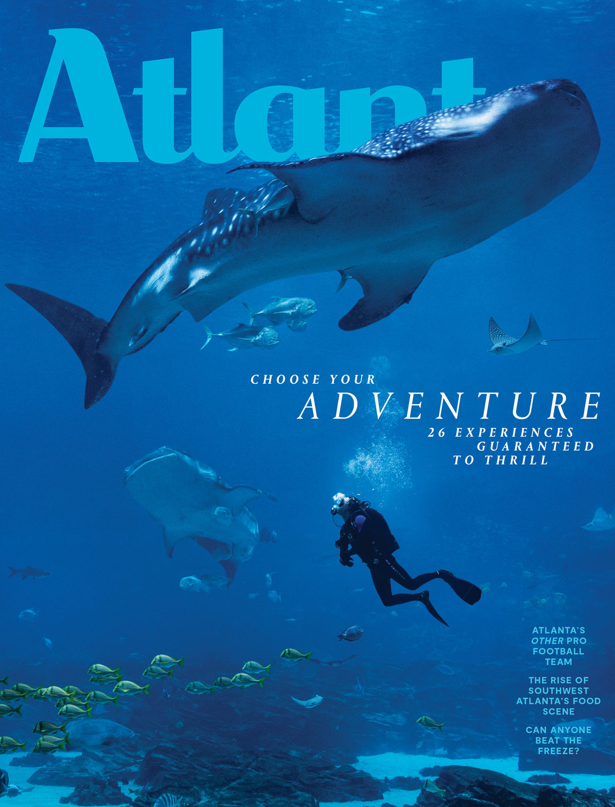 Atlanta Magazine April 2019 cover - Choose your adventure - Georgia Aquarium