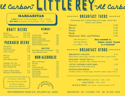 Little Rey Menu Atlanta