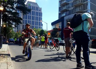 Atlanta protected bike lane West Peachtree protest