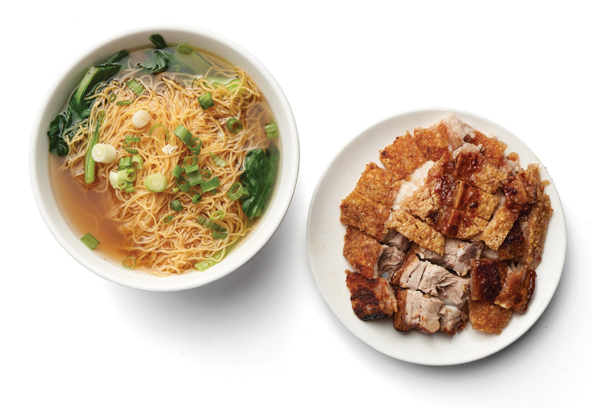 Egg noodle soup with crispy pork
