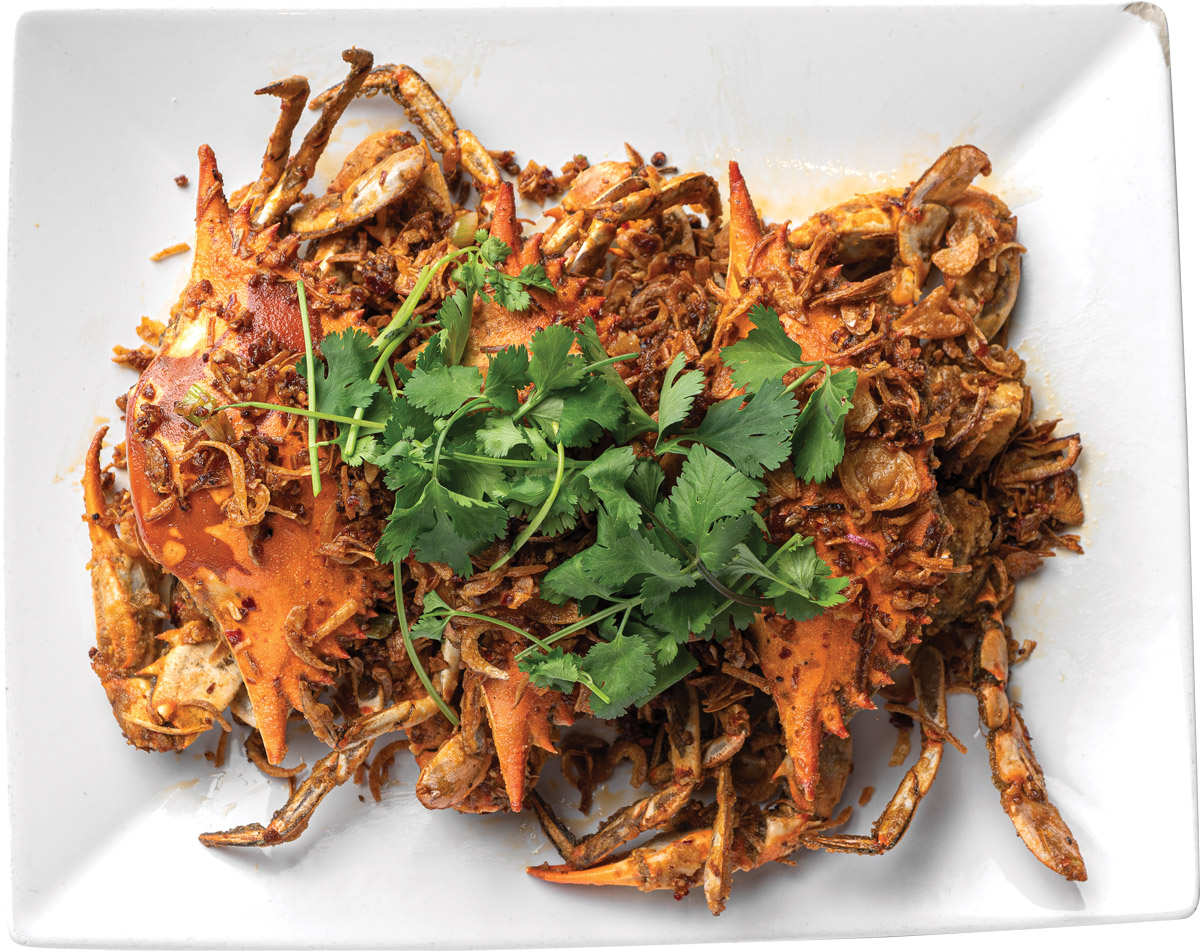 Fried crab in hot spicy sauce
