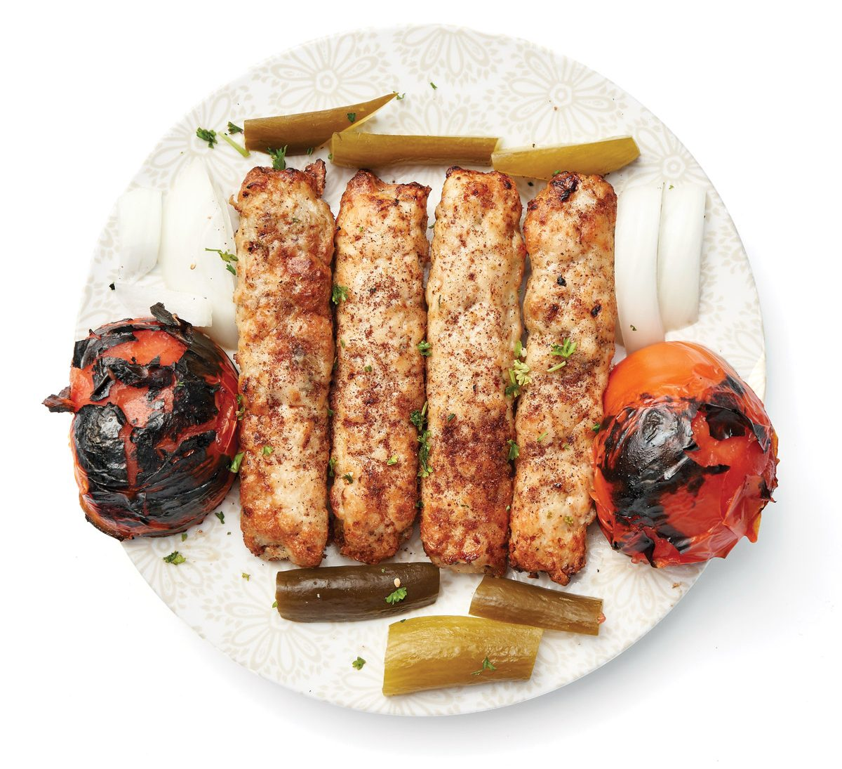 Ground-chicken shish kebab
