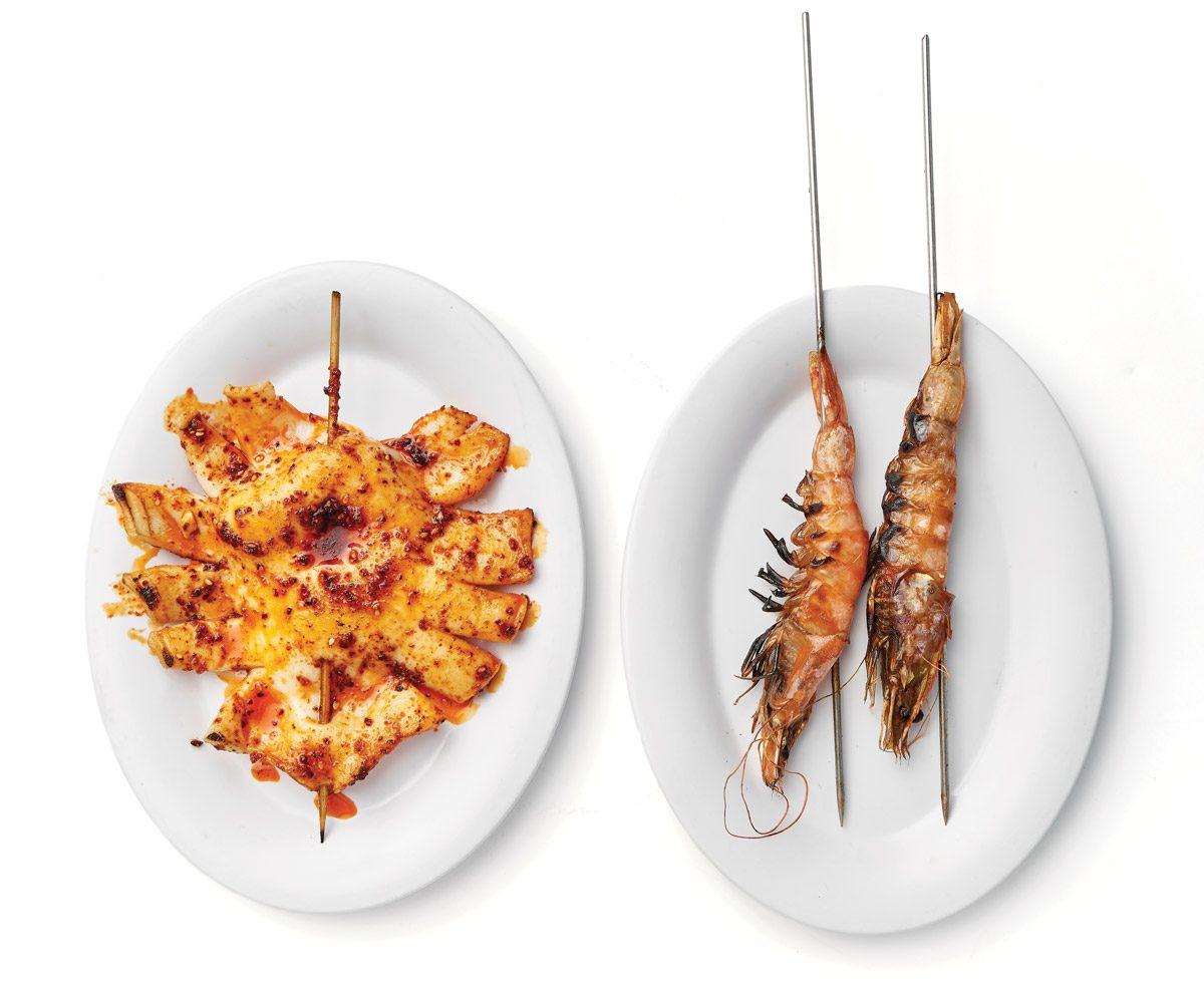 Squid skewer and shrimp skewers