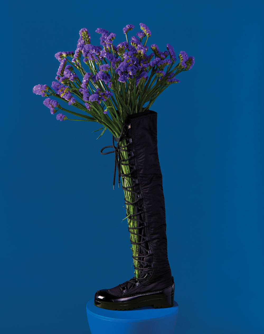 Chanel knee-high black boot
