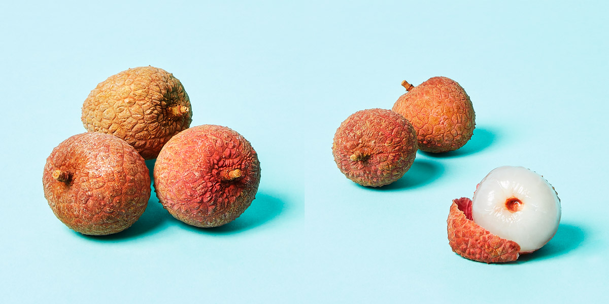 Lychee opened and closed