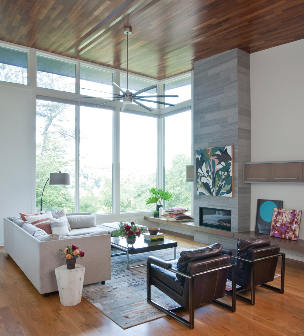 The living room with giant bay windows