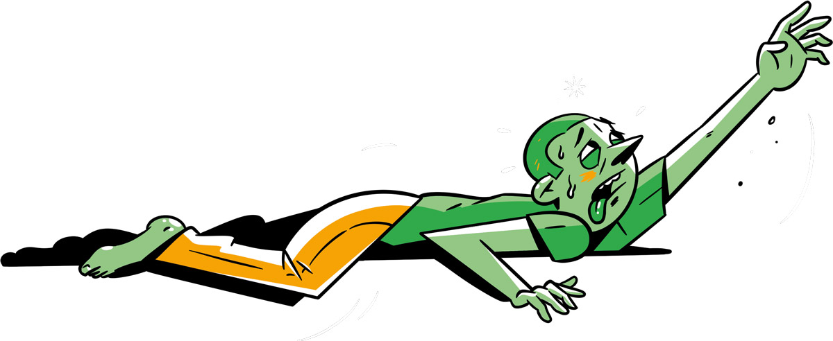 An illustration of a sick man lying on the ground reaching for help