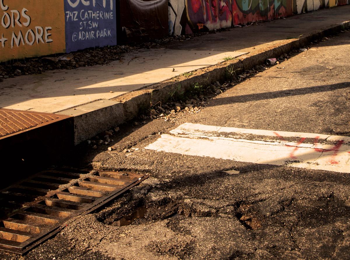 A pothole on DeKalb Avenue