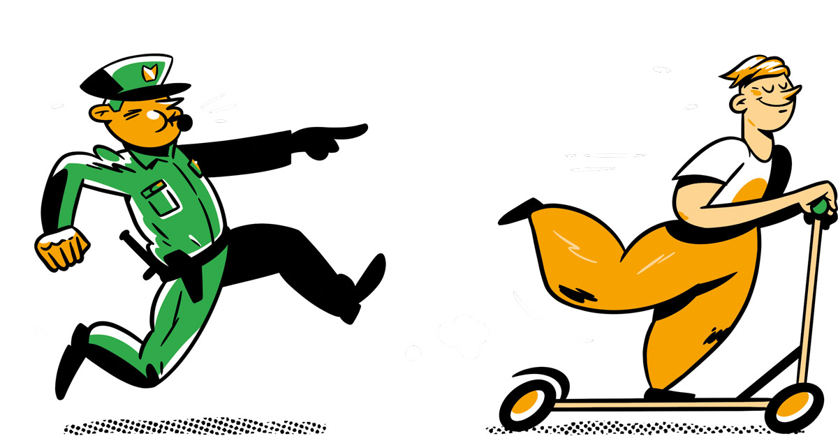Illustration of a policeman chasing a man on a scooter