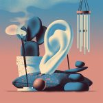 An illustration of an ear surrounded by incense, wind chimes, and more therapeutic items