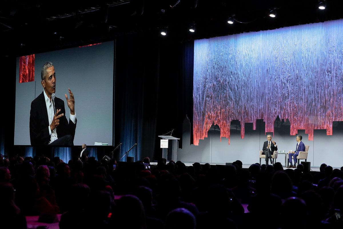 Former President Barack Obama speaks at Greenbuild 2019 in Atlanta