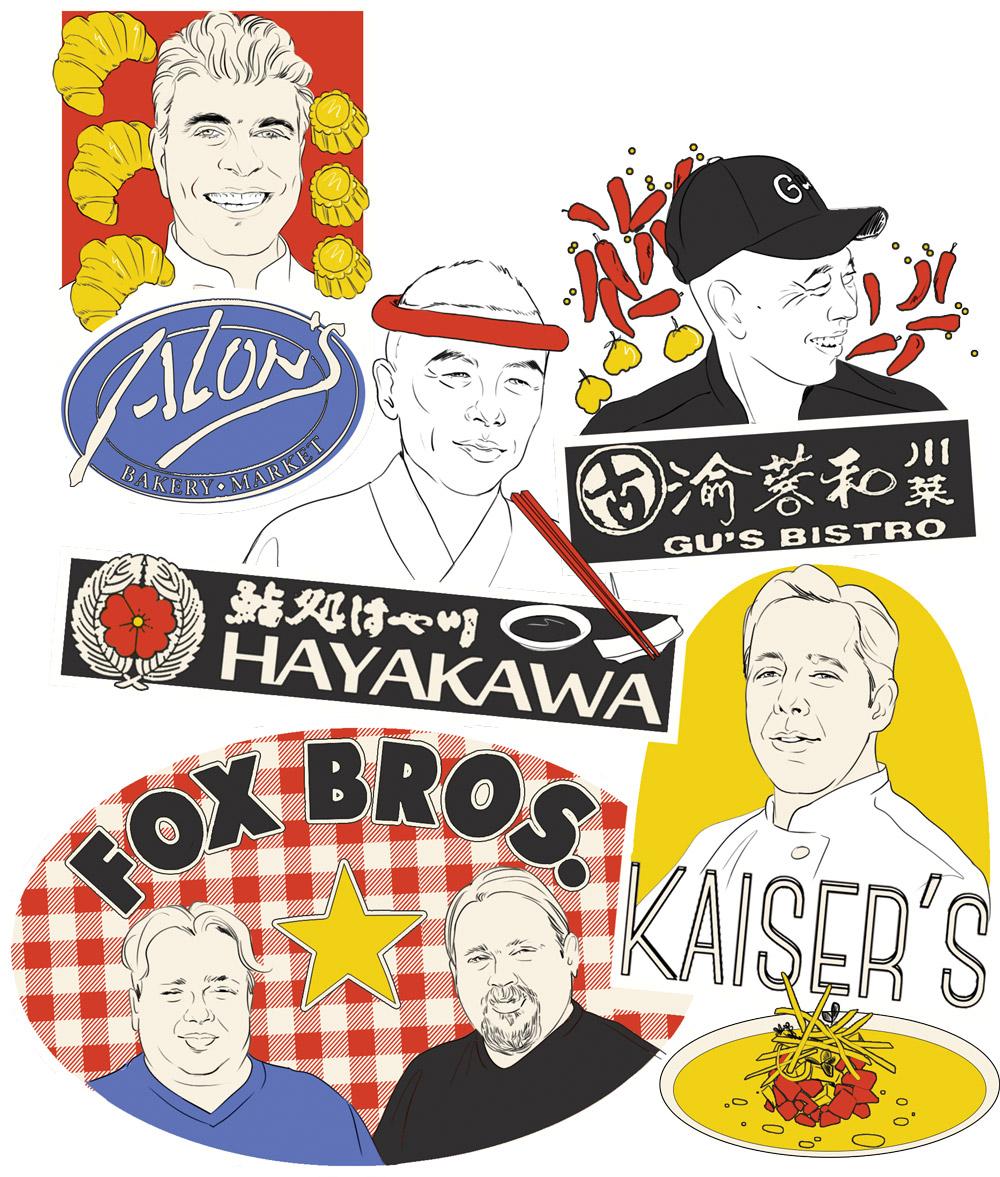 Naming a restaurant: Alons, Sushi Hayakawa, Kaiser's, Fox Bros, Gu's Bistro