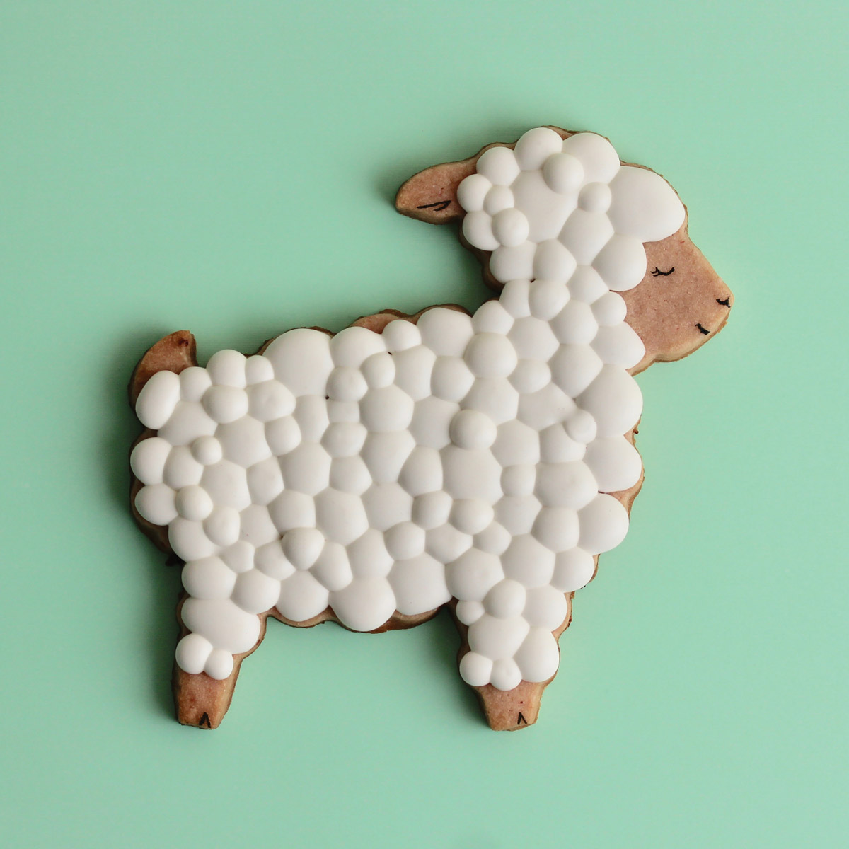A Kookie House cookie in the shape of a sheep