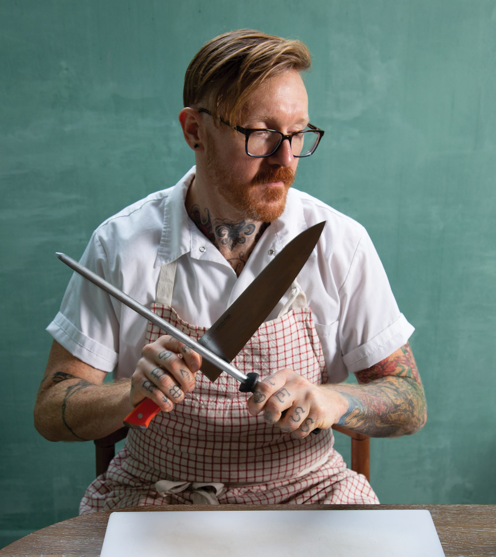Redbird review: Zeb Stevenson sharpening a knife