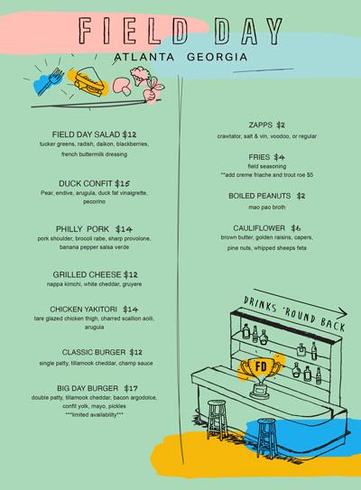 Field Day Atlanta menu