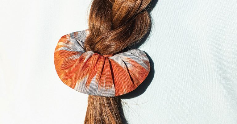 An Atlanta designer turns ikat remnants into scrunchies, headbands, and handbags